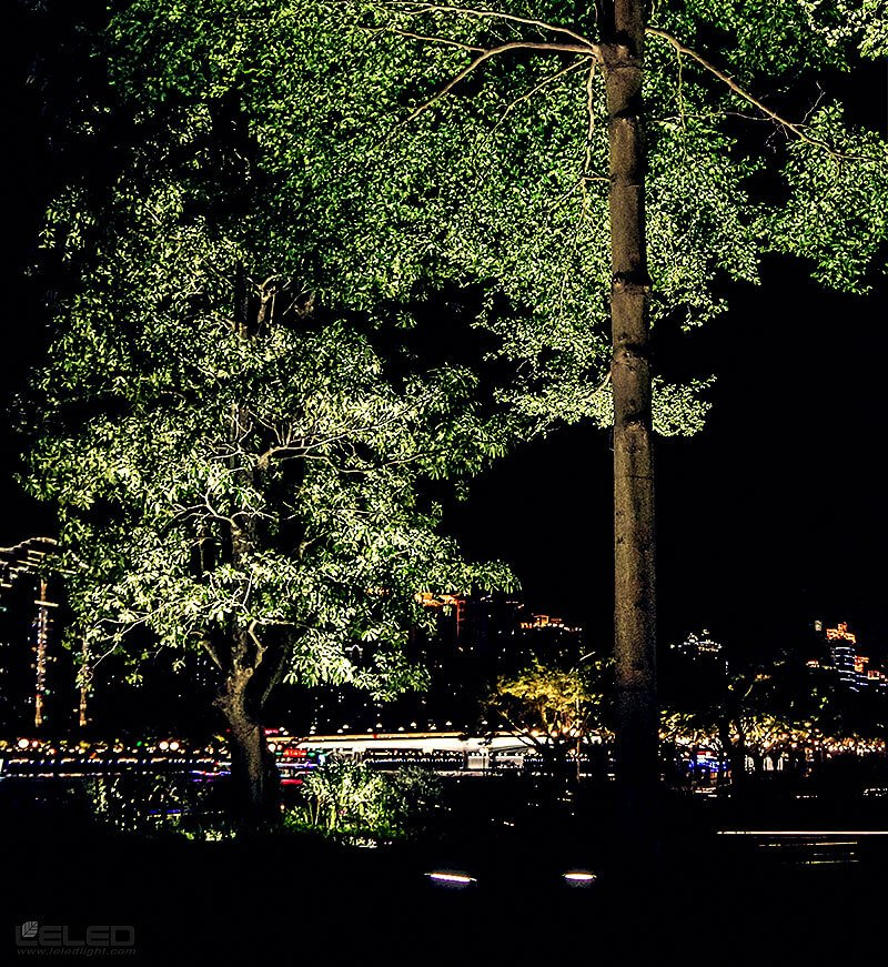 Illuminate the trees design idea for LED high power projector onground lights